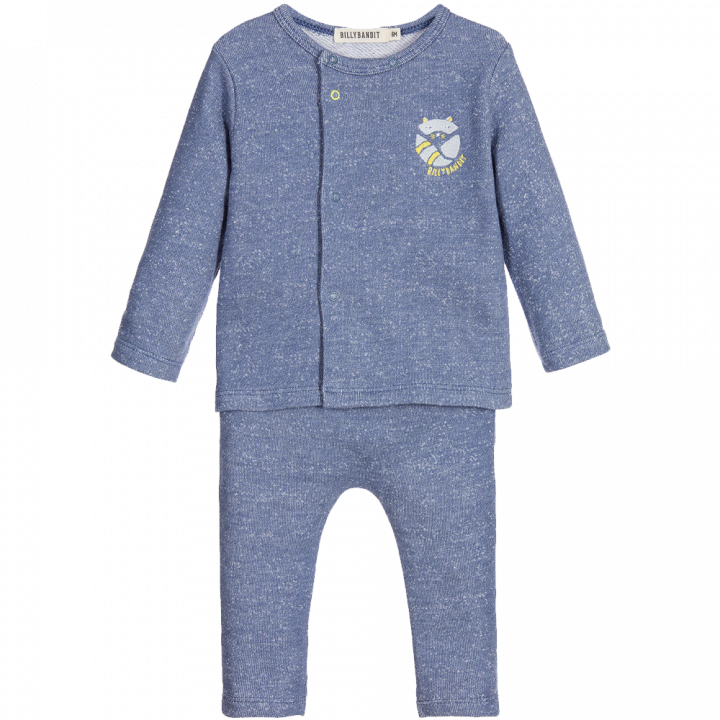 Baby Boys 2 Piece Speckled Blue Trouser Set