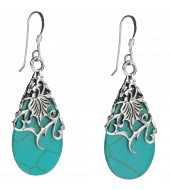 Floral Vine Ornate Teardrop Natural