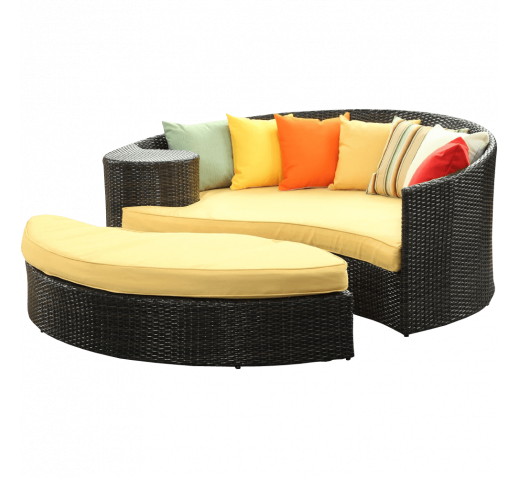 LexMod Taiji Outdoor Wicker Patio Daybed with Ottoman