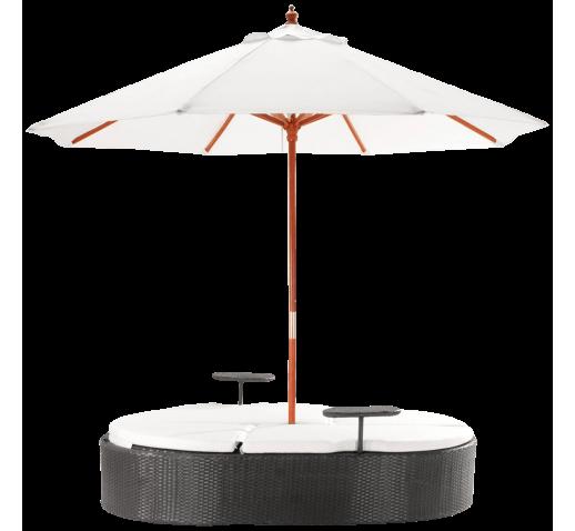 Marbella Espresso Outdoor Patio Double Chaise Lounge Bed